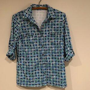 J McLaughlin patterned blouse roll tab sleeves Med